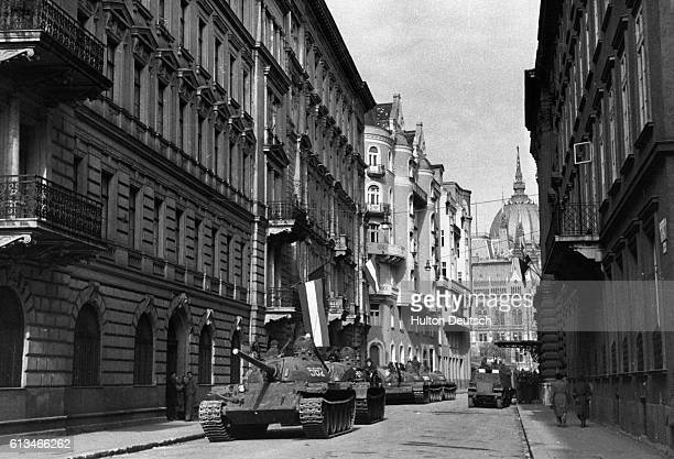 Russian tanks on a Budapest street during their crushing of the 1956 anti communist uprising by the Hungarian people