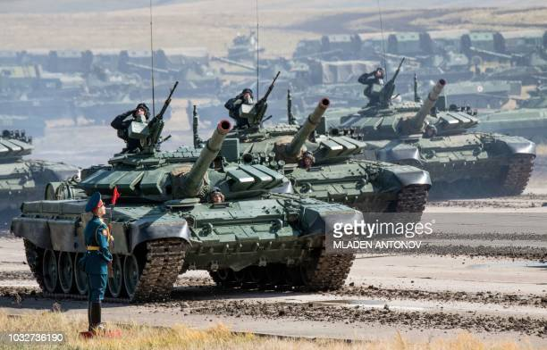 Russian tanks parade at the end of the day of the Vostok2018 military drills at Tsugol training ground not far from the borders with China and...