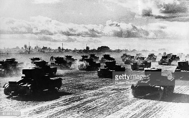 Russian tanks roll towards the battle front on June 22 1941 to defend Soviet territory from German troops This was the first day of Hitler's...