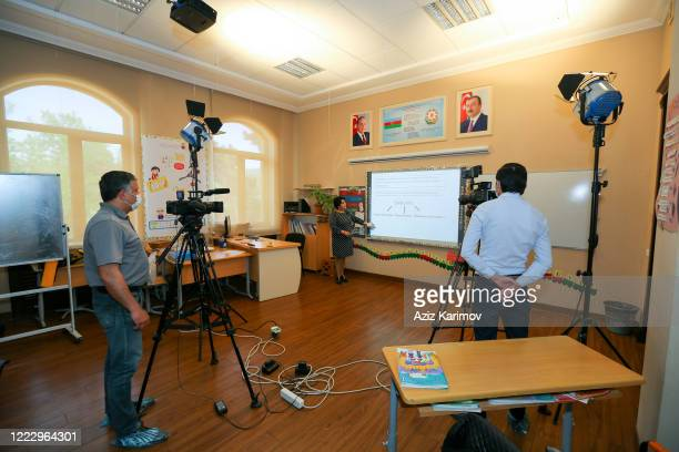 Russian teacher during an online class SchoolLyceum N6 on May 5 2020 in Baku Azerbaijan The Azerbaijan schools resumed classes in online format due...