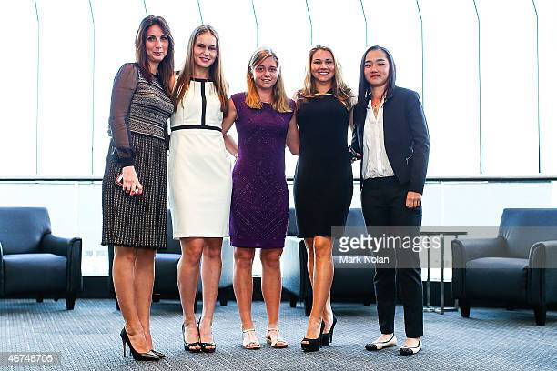 Russian team members Anastasia Myskina Veronica Kudametova Irina Khromacheva Valeria Solovyeva and Victoria Kan pose for a photo before the official...