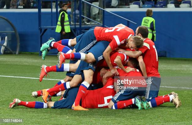 Russian team players seen celebrating a goal during the match 2019 UEFA European Under21 Championship Russia vs Serbia Group 7 The Russian team lost...