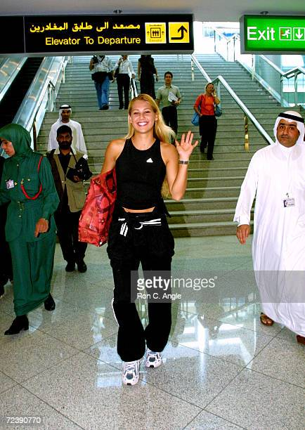 Russian tennis player Anna Kournikova shops at the duty free shops at Dubai Airport February 17 2002 in the United Arab Emirates