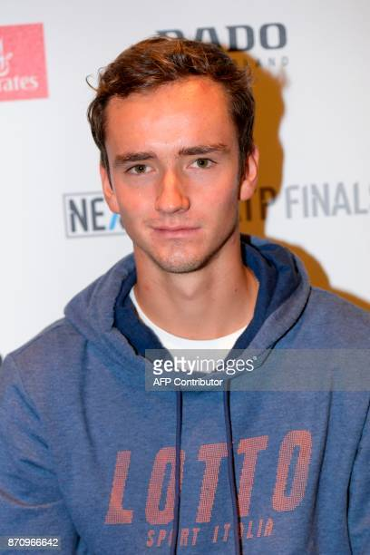 Russian tennis player Daniil Medvedev is pictured on November 6 2017 in Milan during the Media day prior to the first edition of the Next Generation...