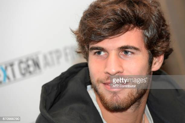 Russian tennis player Karen Khachanov is pictured on November 6 2017 in Milan during the Media day prior to the first edition of the Next Generation...