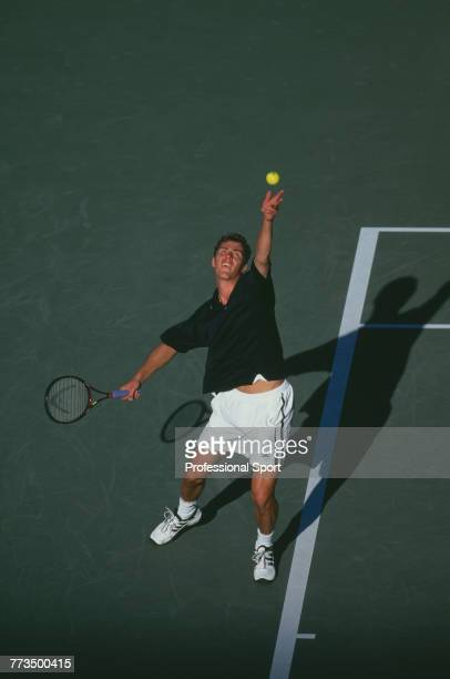 Russian tennis player Marat Safin pictured in action during competition to reach and win the final of the Men's Singles tennis tournament during the...
