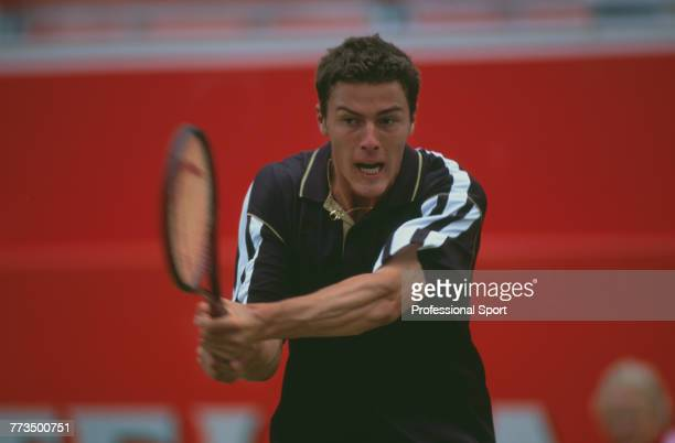 Russian tennis player Marat Safin pictured in action during competition to reach the quarterfinals of the 2000 Stella Artois Championships singles...