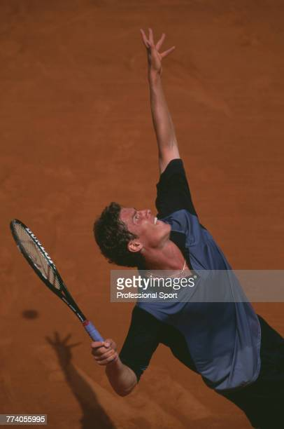 Russian tennis player Marat Safin pictured in action during competition to reach the third round of the Men's Singles tournament at the 2001 French...