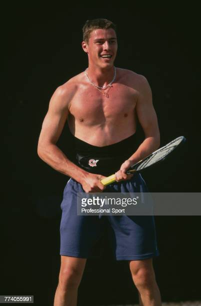Russian tennis player Marat Safin pictured in training during competition to reach the second round of the Men's Singles tournament at the 2001...