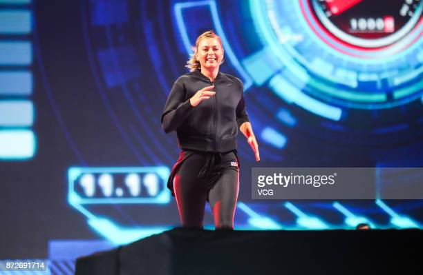 Russian tennis player Maria Sharapova attends 2017 Alibaba Singles' Day Global Shopping Festival gala at MercedesBenz Arena on November 10 2017 in...