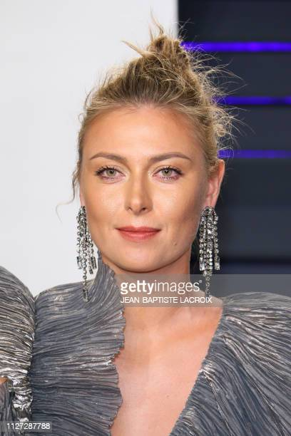Russian tennis player Maria Sharapova attends the 2019 Vanity Fair Oscar Party following the 91st Academy Awards at The Wallis Annenberg Center for...