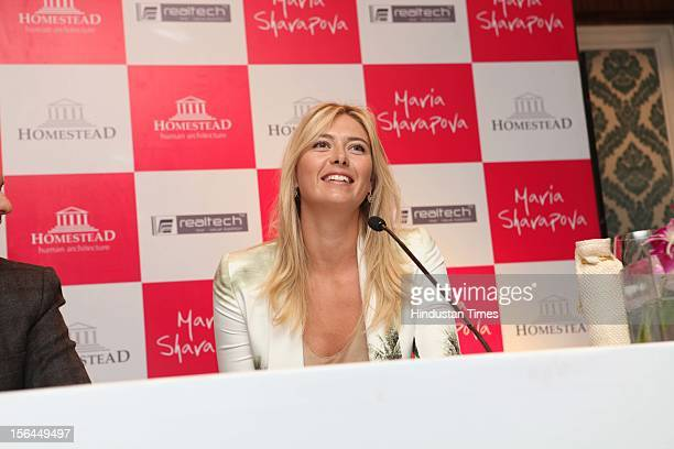 Russian Tennis player Maria Sharapova during promotion of UK based real estate firm Homestead on November 11 2012 in New Delhi India