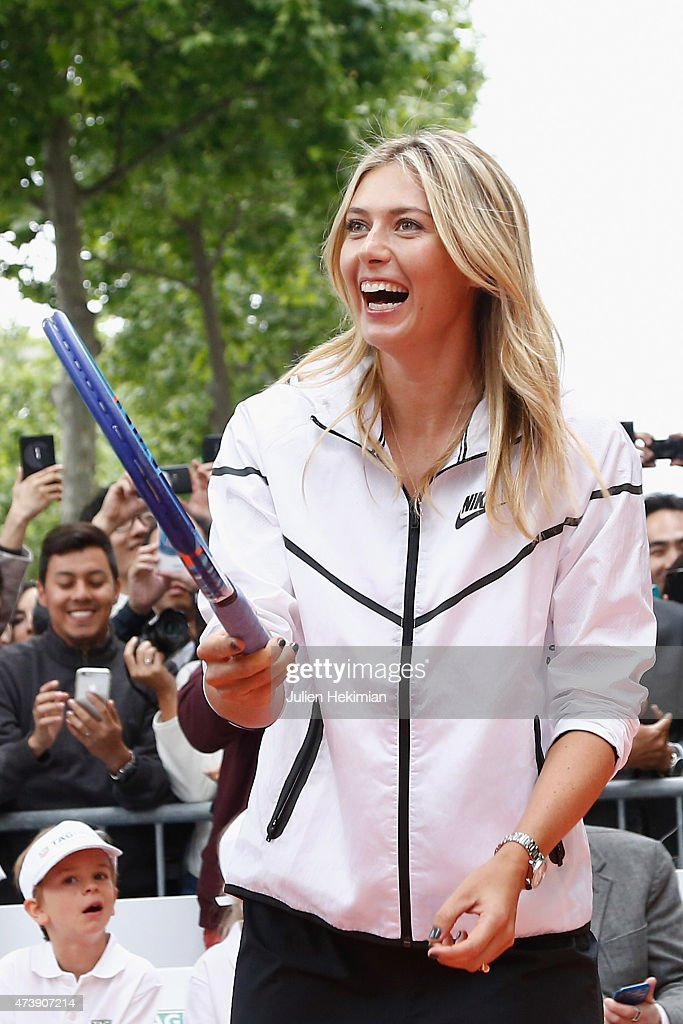 Russian tennis player Maria Sharapova participates to the Association Theodora fund event organized by Tag Heuer on May 18, 2015 in Paris, France.