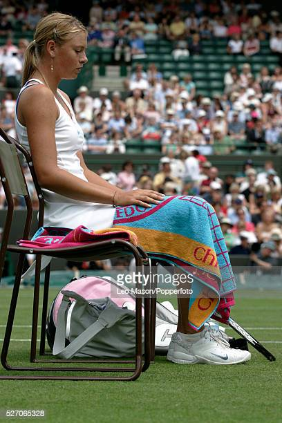 Russian tennis player Maria Sharapova pictured during a break in action in her first round match against Anna Smashnova of Israel during progress to...