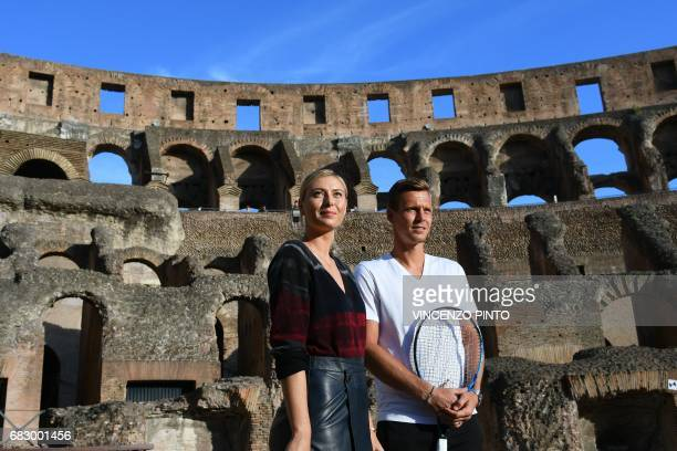 Russian tennis player Maria Sharapova poses with tennis player Tomas Berdych at the Colosseum on May 14 2017 in Rome Fivetime Grand Slam champion...