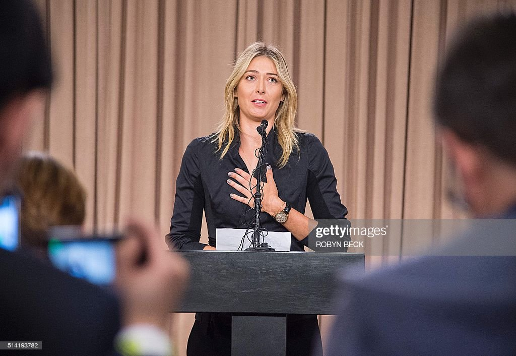 Russian tennis player Maria Sharapova speaks at a press conference in downtown Los Angeles, California, March 7, 2016. The former world number one announced she failed a doping test at the Australian Open, saying a change in the World-Anti-Doping Agency banned list led to the violation. Sharapova said she tested positive for Meldonium, a substance she had been taking since 2006 but one that was added to the banned list this year. / AFP / ROBYN