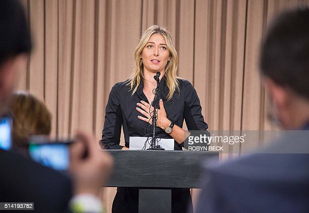 Russian tennis player Maria Sharapova speaks at a press conference in downtown Los Angeles California March 7 2016 The former world number one...