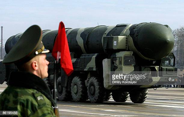 Russian Topol-M intercontinental ballistic missile is displayed during a Victory Day parade rehearsal on April 24, 2009 in Alabino, outside Moscow,...