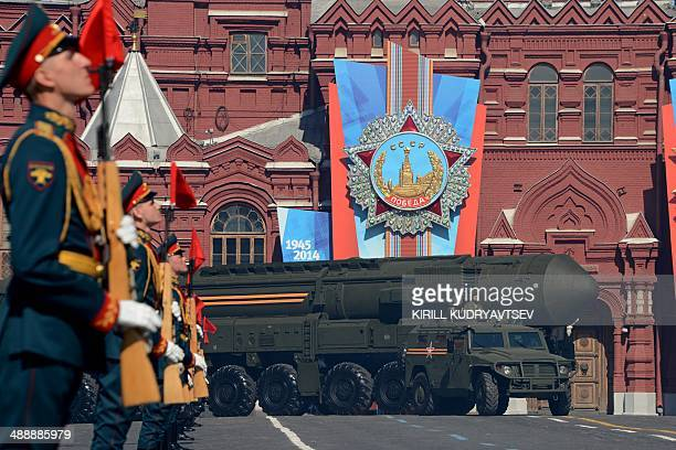 A Russian TopolM intercontinental ballistic missile launcher drives at the Red Square in Moscow on May 9 during a Victory Day parade Thousands of...