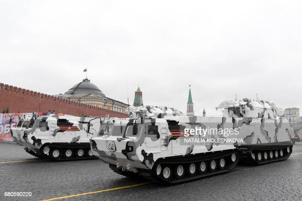 Russian TORM2 tactical surfacetoair missile systems Arctic edition ride through Red Square during the Victory Day military parade in Moscow on May 9...