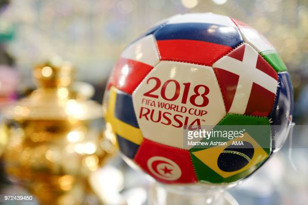 Russian tourism shop selling a 2018 FIFA World Cup Russia football with flags of the competing nations on it in Moscow ahead of the 2018 FIFA World...