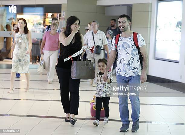 Russian tourists arrive at Antalya Airport in Antalya Turkey on July 09 2016