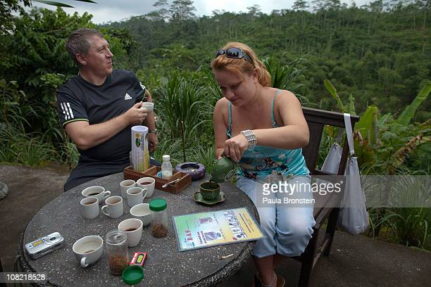 Russian tourists sample Luwak coffee for sale at the BAS Coffee plantation January 20 2011 in Tapaksiring Bali Indonesia The Luwak coffee is known as...