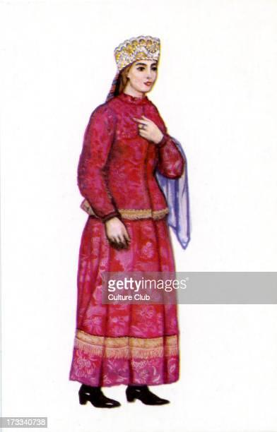 Russian traditional dress illustration by N Vinogradova 1969 Girl in dress of Olonetz Province