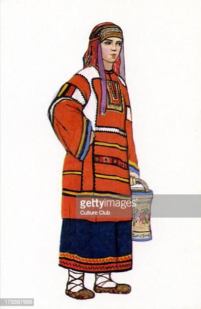 Russian traditional dress - illustration by N. Vinogradova. Woman in dress of Tambov Province .