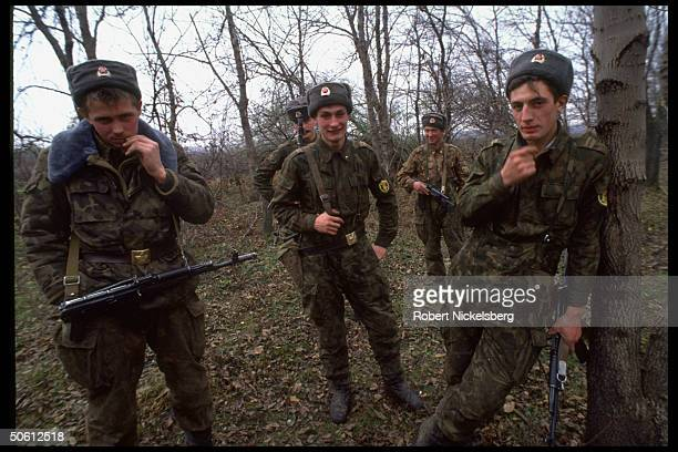 Russian troops at Chechen road block re old foes at odds over N OssetianIngush ethnic war in Chechnya's neighboring autonomous areas N Ossetia...