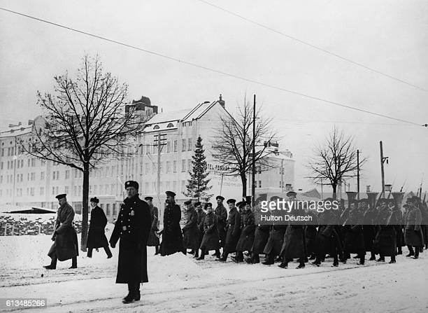 Russian troops marching trough Viipuri Finland during the Russian occupation of that country in 1939