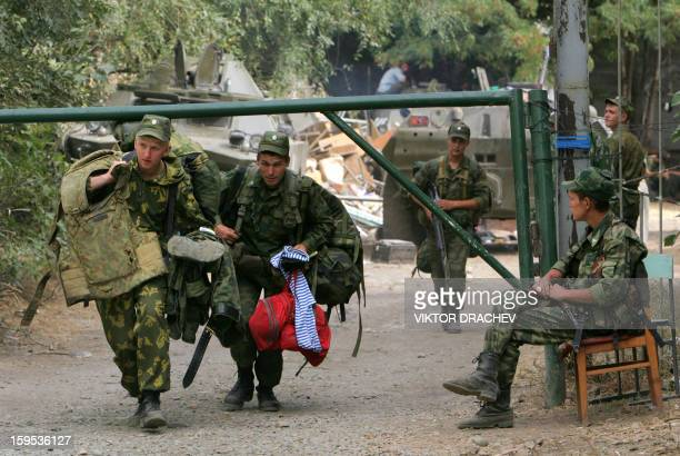 Russian troops partrol in the South Ossetia town Tskhinvali on August 25 2008 Leaders of Russia's main proKremlin political party which holds a...