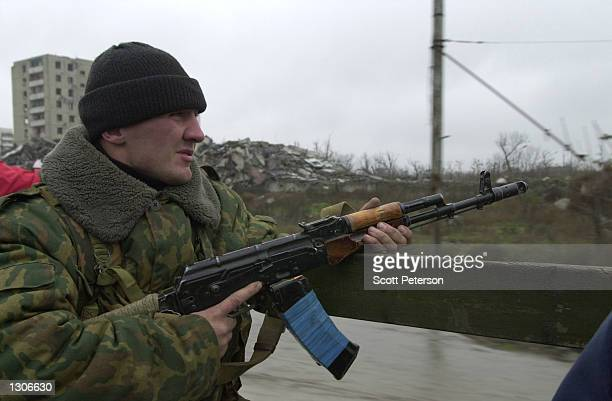 Russian troops patrol in central Grozny November 23 capital of the breakaway republic of Chechnya. Russian forces have been accused of massive human...