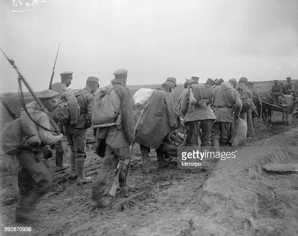 Russian troops seen here escorting Austrian prisoners following the Battle for Lemberg. Circa September 1914