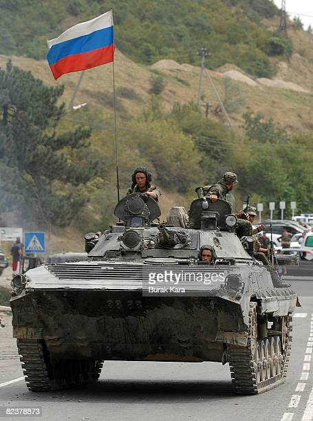 Russian troops take positions on August 16 2008 near the village of Igoeti on the road from Gori to Tbilisi about 45 kilometres from Tbilisi Georgia...