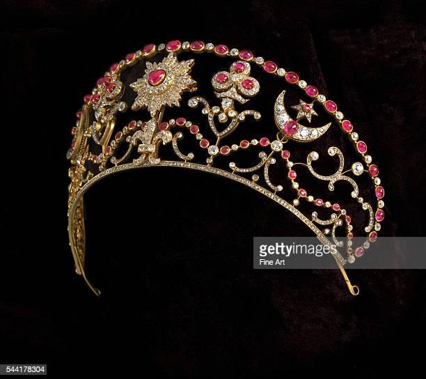 Russian tsarist diadem of gold diamonds and rubies 19th century