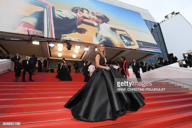"""Russian TV presenter and model Victoria Bonya poses as she arrives on May 15, 2018 for the screening of the film """"Solo : A Star Wars Story"""" at the..."""