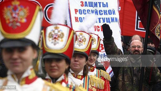 Russian ultranationalist makes the Nazistyle salutes during a rally marking National Unity Day the new state holiday created by the Kremlin to...