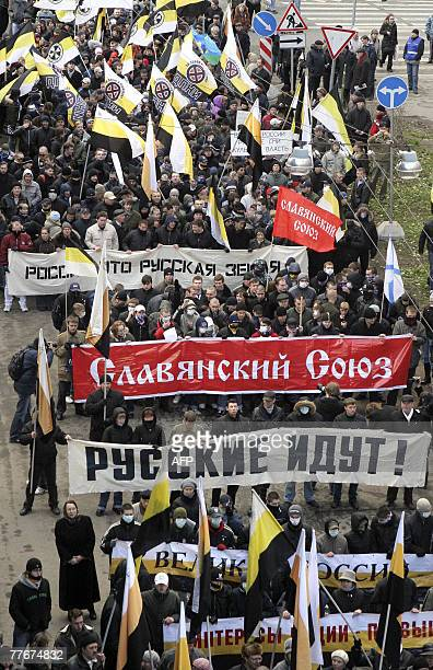 Russian ultranationalists take part in a rally marking People's Unity Day the new state holiday created by the Kremlin to promote patriotism in...