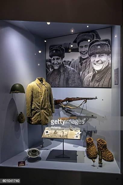 Russian uniform and arms in the Bastogne War Museum devoted to the Second World War Two Battle of the Bulge in the Belgian Ardennes Belgium