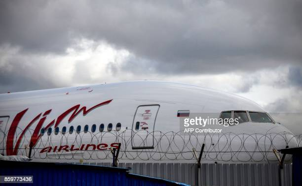 Russian VimAvia carrier's plane is parked at the Domodedovo airport outside Moscow on October 10 2017 VimAvia Russia's 10th largest carrier in terms...
