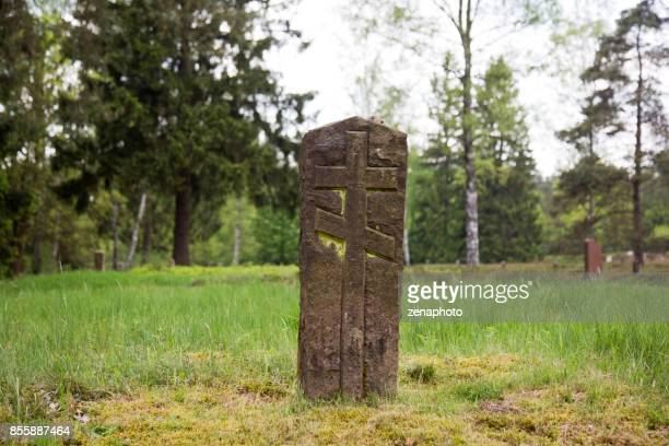 russian war cemetery tombstone - celle stock photos and pictures