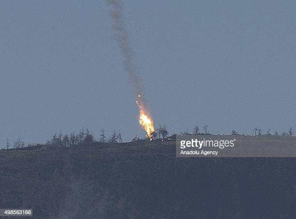 Russian warplane goes down in Syria's northwestern Turkmen town of Bayirbucak near Turkeys border on November 24, 2015.