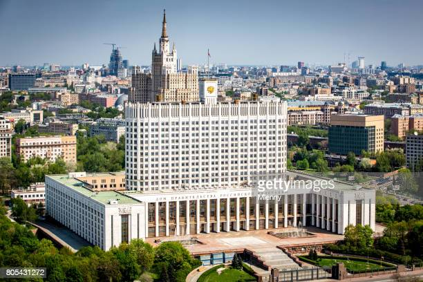 Russian White House Aerial View Moscow Russia