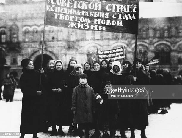 Russian women workers visit Lenin's tomb on International Women's Day