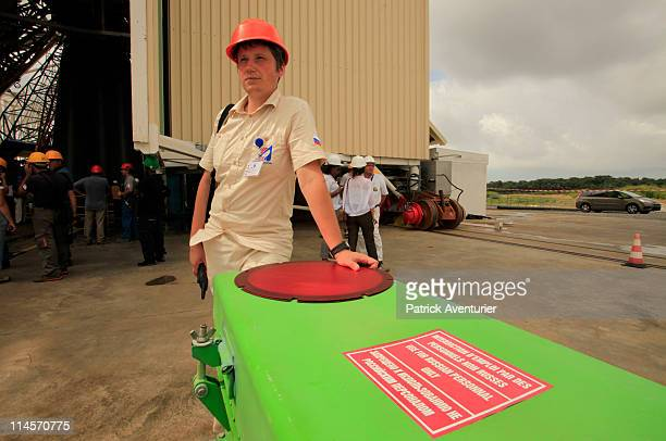 Russian working on the pad for the 'Dry Run' simulation of Soyuz first flightin the new Russian Soyuz launch complex at the Guiana Space Center on...