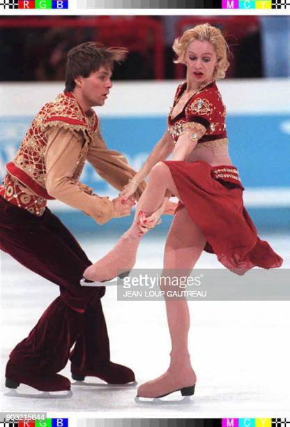 Russian World and Olympic champions Oksana Grishuk and Yevgeny Platov present their easterninspired free dance program 24 January at the 1997...
