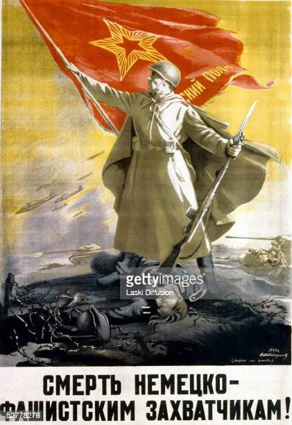 A Russian World War II propaganda poster depicting a Russian soldier raising a red flag while holding a German soldier on the ground with his rifle...