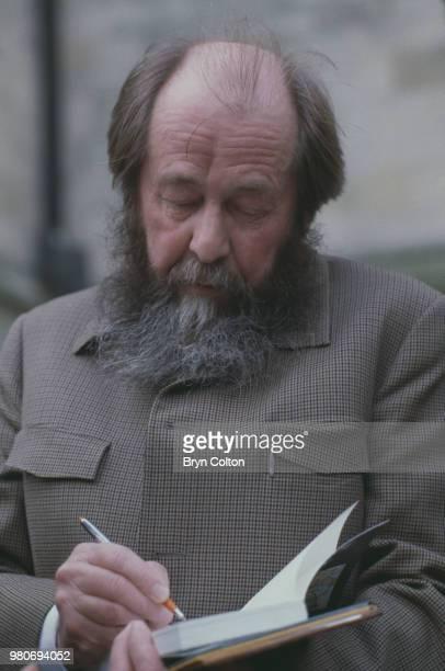 Russian writer Aleksandr Solzhenitsyn during a visit to Eton College Windsor UK May 1983