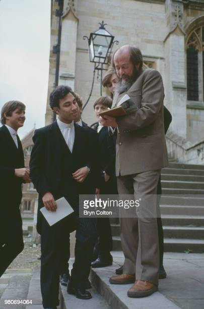 Russian writer Aleksandr Solzhenitsyn with pupils during a visit to Eton College Windsor UK May 1983